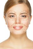 Face before plastic surgery operation Stock Images
