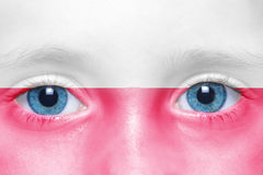 Face with polish flag. Child`s face with polish flag stock images