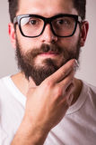 Face portrait of bearded man in glasses with hand on beard Royalty Free Stock Image