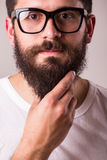 Face portrait of bearded man in glasses with hand on beard Stock Image