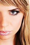 Face portrait of a beautiful woman. With creative makeup Royalty Free Stock Photography