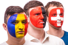 Face portrait of football fans support their national team: Royalty Free Stock Images