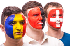 Face portrait of football fans support their national team: Royalty Free Stock Image