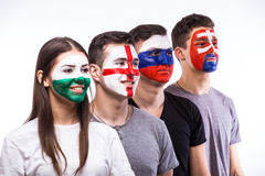 Face portrait of football fans support their national team: Slovakia, Wales, Russia, England Stock Photo