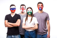 Face portrait of football fans support their national team: Slovakia, Wales, Russia, England Royalty Free Stock Photo