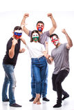 Face portrait of football fans support their national team: Slovakia, Wales, Russia, England Stock Photos