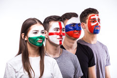 Face portrait of football fans support their national team: Slovakia, Wales, Russia, England Royalty Free Stock Photography