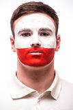 Face Portrait of Polish football fan Royalty Free Stock Photo
