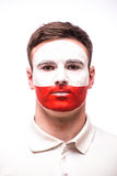 Face Portrait of Polish football fan pray for Poland. National team on white background. European 2016 football fans concept Royalty Free Stock Photography
