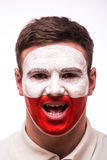 Face Portrait of Polish football fan Royalty Free Stock Images