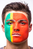 Face portrait of Portuguese football fan support Portugal national team Royalty Free Stock Photography