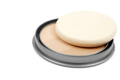 Face powder. Isolated on white background royalty free stock photography