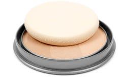 Face powder. Isolated on white background royalty free stock photos