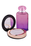 Face powder and bottle of perfume Stock Photo
