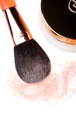 Face powder and brush Royalty Free Stock Photos
