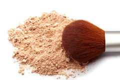Face powder and brush. On white background stock photo