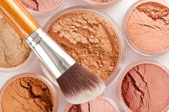 Face powder and brush Royalty Free Stock Images