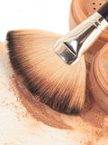 Face powder and brush. close up Stock Photography