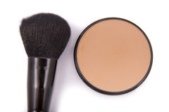 Face powder with a brush Royalty Free Stock Photo