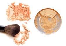 Face powder with a brush close up on a white background. stock photography