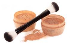 Face powder and brush. isolated Stock Image