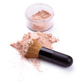 Face powder with brush. Isolated on white background stock photography