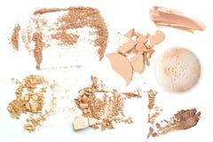 Face powder and brush over white background. Stock Image