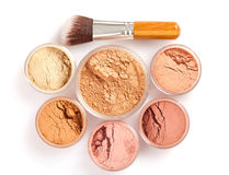 Face powder and brush. Top view stock image