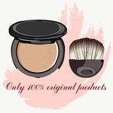 Face powder and brush Stock Image