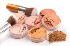 Face powder and brush Royalty Free Stock Photo