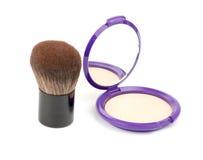 Face powder with kabuki brush Royalty Free Stock Images