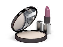 Face powder and lipstick Royalty Free Stock Images