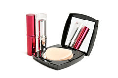 Face powder and lipstick Stock Photo