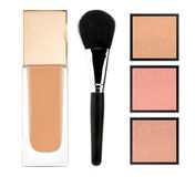 Face powder and liquid makeup foundation isolated on white Royalty Free Stock Images