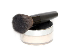 Face powder with make-up brush Royalty Free Stock Images