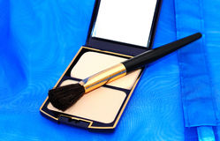 Face powder with mirror Royalty Free Stock Photography
