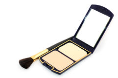 Face powder with mirror Stock Photo