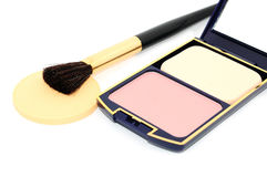 Face powder with mirror. Cosmetics on the white background Stock Photography
