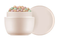 Face powder pearls. Colored meteorites. 3d open container with face powder pearls. Package of colored meteorites cosmetic corrector for makeup in box. Realistic Royalty Free Stock Photography