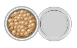 Face powder pearls. Colored meteorites. 3d open container with face powder pearls. Package of colored meteorites cosmetic corrector for makeup in box. Realistic Royalty Free Stock Photo