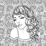 Face of pretty elegant boho girl on doodle background . Beautiful wavy curly hair and pouty lips. Hand drawn amazing floral bohemia coloring book page for Stock Photos