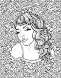 Face of pretty elegant boho girl on doodle background . Beautiful wavy curly hair and pouty lips. Hand drawn amazing floral bohemia coloring book page for Royalty Free Stock Photography