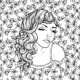 Face of pretty elegant boho girl on floral background . Beautiful wavy curly hair and pouty lips. Hand drawn amazing floral bohemia coloring book page for Stock Images