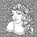 Face of pretty elegant boho girl on floral background . Beautiful wavy curly hair and pouty lips. Hand drawn amazing floral bohemia coloring book page for Stock Image