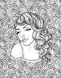 Face of pretty elegant boho girl on floral background with roses. Beautiful wavy curly hair and pouty lips. Hand drawn amazing floral bohemia coloring book Stock Images
