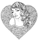 Face of pretty elegant boho girl with heart shaped frame. Beautiful wavy curly hair and pouty lips. Hand drawn amazing floral bohemia romantic coloring book Stock Photography