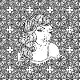 Face of pretty elegant boho girl with heart shaped frame. Beautiful wavy curly hair and pouty lips. Hand drawn amazing floral bohemia romantic coloring book Royalty Free Stock Image