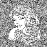 Face of pretty elegant boho girl with wreath on floral background. Beautiful wavy curly hair and pouty lips. Hand drawn amazing floral bohemia coloring book Royalty Free Stock Photography