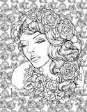 Face of pretty elegant boho girl with wreath on floral background with roses. Beautiful wavy curly hair and pouty lips. Hand drawn amazing floral bohemia Stock Images