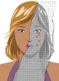 Face of pretty young woman becoming wrinkled. Ruined portrait of attractive young blond woman, worrying to become old. Concept illustration Royalty Free Stock Photo